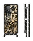 Design hoesje met koord Samsung Galaxy A52 (5G) / A52 (4G) - Bladeren - Goud / Zwart