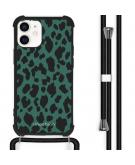 Design hoesje met koord voor de iPhone 12 Mini - Luipaard - Groen / Zwart