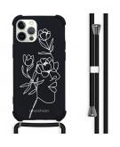 Design hoesje met koord voor de iPhone 12 (Pro) - Abstract Gezicht Bloem - Zwart