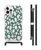 Design hoesje met koord voor de iPhone 12 (Pro) - Luipaard - Groen