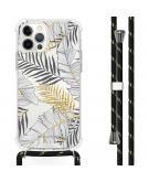 Design hoesje met koord voor de iPhone 12 Pro Max - Bladeren - Zwart / Goud