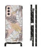 Design hoesje met koord voor de Samsung Galaxy S21 - Bladeren - Zwart / Goud