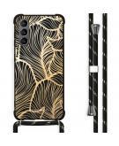 Design hoesje met koord voor Samsung Galaxy S21 Plus - Bladeren - Goud / Zwart