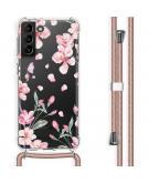 Design hoesje met koord voor Samsung Galaxy S21 Plus - Bloem - Roze