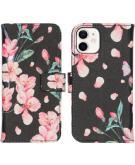 Design Softcase Book Case voor de iPhone 12 Mini - Blossom Watercolor Black