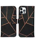 Design Softcase Book Case voor de iPhone 12 (Pro) - Black Graphic