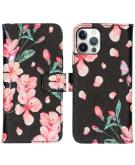 Design Softcase Book Case voor de iPhone 12 (Pro) - Blossom Watercolor Black