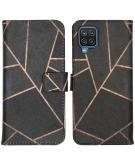 Design Softcase Book Case voor de Samsung Galaxy A12 - Black Graphic