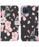 Design Softcase Book Case voor de Samsung Galaxy A12 - Blossom Watercolor Black