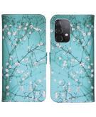 Design Softcase Book Case voor de Samsung Galaxy A52 (5G) / A52 (4G) - Bloesem