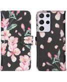 Design Softcase Book Case voor de Samsung Galaxy S21 Ultra - Blossom Watercolor Black