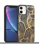 Design voor de iPhone 12 Mini hoesje - Bladeren - Goud / Zwart