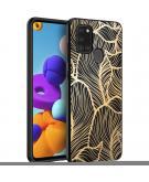 Design voor de Samsung Galaxy A21s hoesje - Bladeren - Goud / Zwart