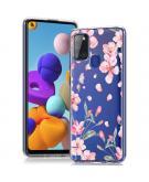 Design voor de Samsung Galaxy A21s hoesje - Bloem - Roze