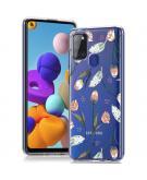 Design voor de Samsung Galaxy A21s hoesje - Bloem - Roze / Groen
