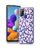 Design voor de Samsung Galaxy A21s hoesje - Hartjes - Roze