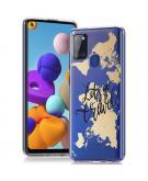 Design voor de Samsung Galaxy A21s hoesje - Let's Go Travel - Zwart / Goud