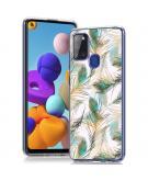 Design voor de Samsung Galaxy A21s hoesje - Pauw - Groen / Goud