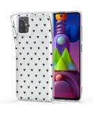 Design voor de Samsung Galaxy M51 hoesje - Hartjes - Zwart