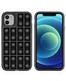 Pop It Fidget Toy - Pop It hoesje voor de iPhone 12 (Pro) - Zwart
