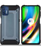 Rugged Xtreme Backcover voor de Motorola Moto G9 Plus - Donkerblauw