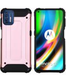 Rugged Xtreme Backcover voor de Motorola Moto G9 Plus - Rosé Goud