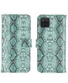 Slangenprint Booktype voor de Samsung Galaxy A12 - Lichtblauw
