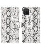 Slangenprint Booktype voor de Samsung Galaxy A12 - Wit