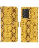 Slangenprint Booktype voor de Samsung Galaxy A52 (5G) / A52 (4G) - Geel